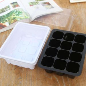 Seedling Tray Sprout Plate 12 Holes Nursery Pots Tray Lids Box (Imported Quality)